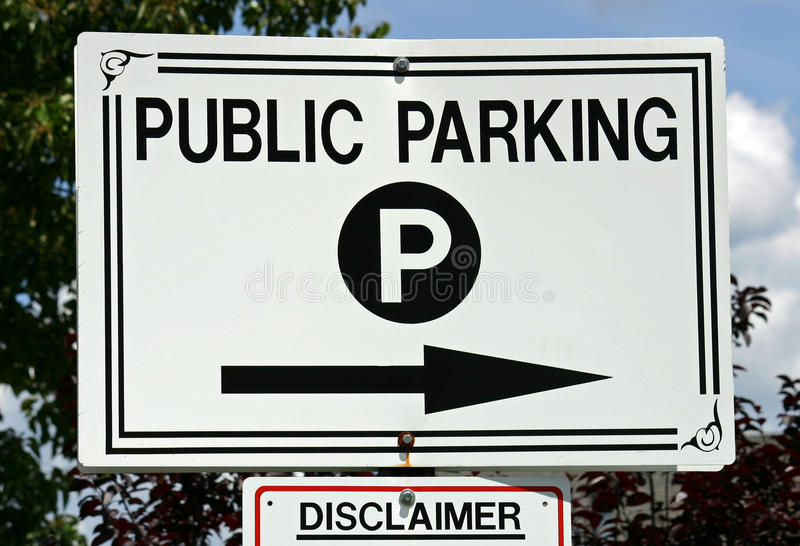 Public Parking. A black and white sign that reads Public Parking stock photo