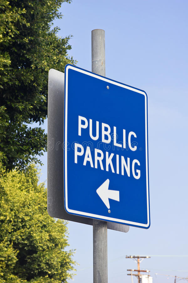 Public Parking. Sign shows where public parking is available royalty free stock photography