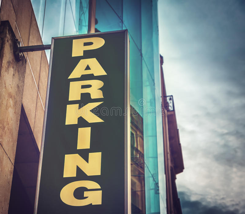 Public parking. Closeup of public parking sign stock image