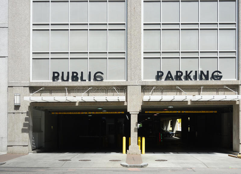 Public parking garage. Entrance to a Public Parking deck in a city stock photos