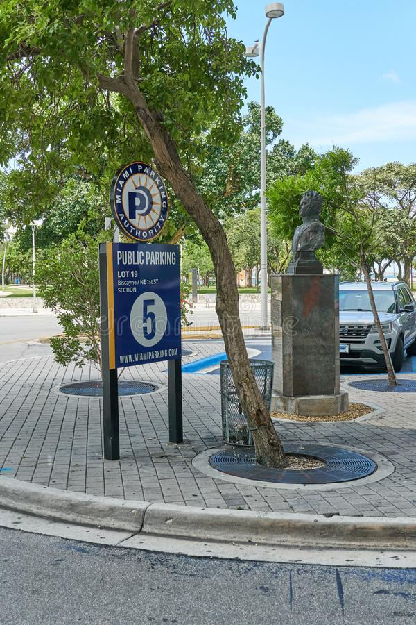 Public parking in Miami. MIAMI, USA - AUGUST 22, 2018 Public parking in Miami Florida stock photo