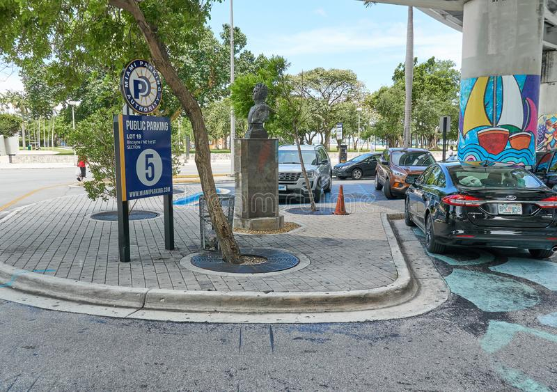 Public parking in Miami. MIAMI, USA - AUGUST 22, 2018 Public parking in Miami Florida stock photos
