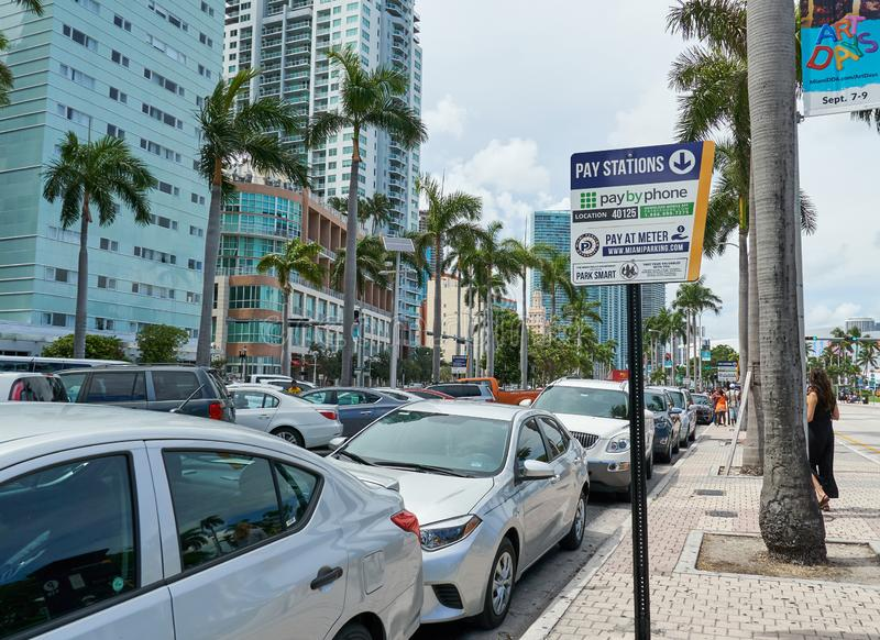 Public parking in Miami. MIAMI, USA - AUGUST 22, 2018 Public parking in Miami Florida royalty free stock photo
