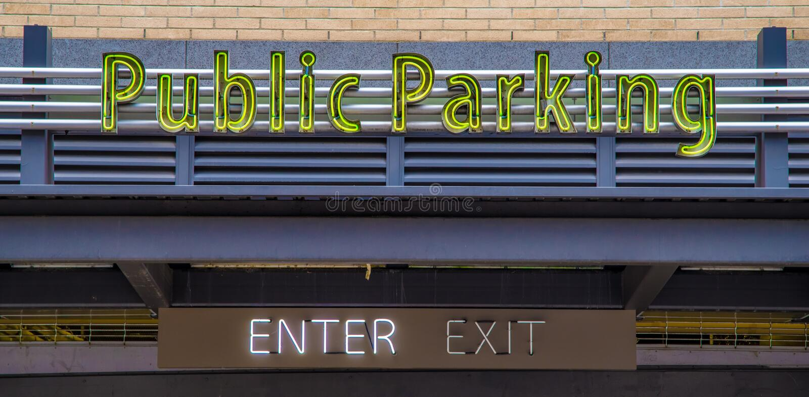 Public Parking. Neon Public Parking sign in a downtown urban area royalty free stock images