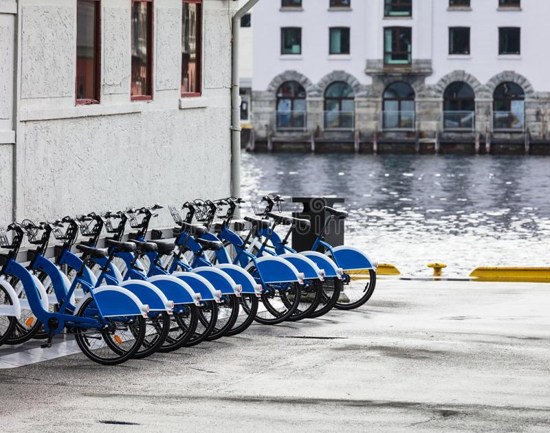 Public parking of rental bicycles in city. Public parking of rental bicycles in the city stock image