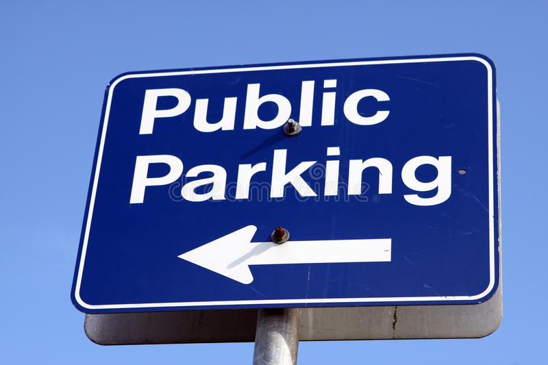 Public parking sign. From below royalty free stock photography