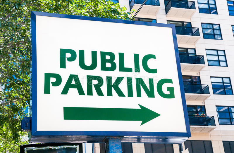 Public parking sign. Sign displaying the public parking royalty free stock photos
