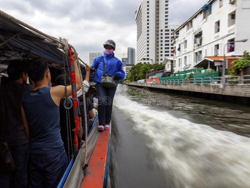 Public boat at Khlong channel in Bangkok stock photography