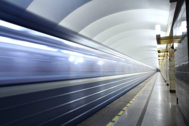 Public passenger transport, metro station, train departs from s. Saint Petersburg, Russia - March 7, 2014: Subway station Grazhdanskiy prospekt, urban public stock photography