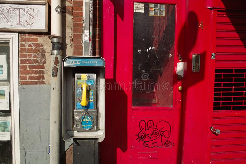 Public phone in the street of New York City stock photo