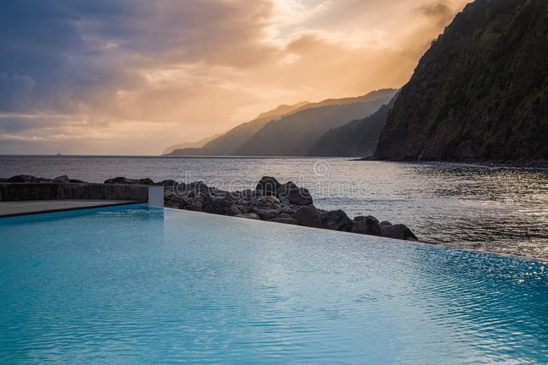Public pool on the waterfront in Povoacao on Sao Miguel Island, Azores stock photos