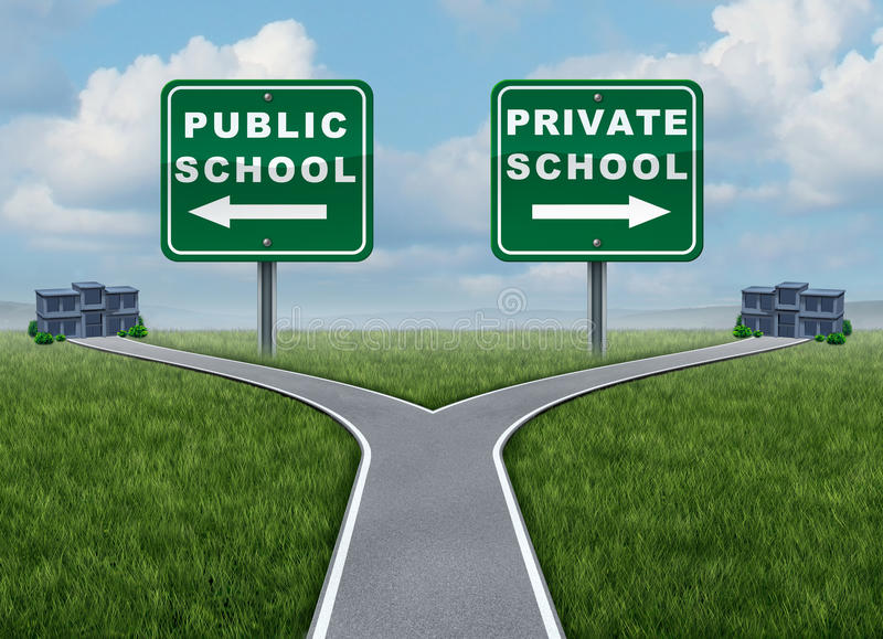 Public And Private School Choice vector illustration