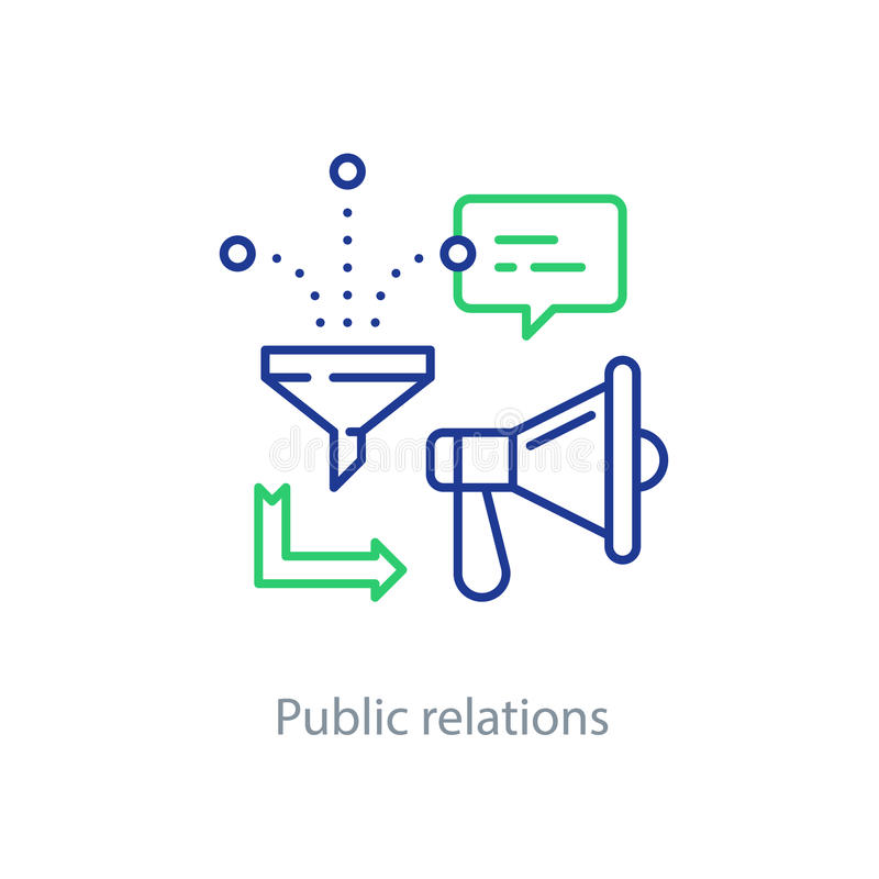 Public relations concept, megaphone line icon, advertising promotion royalty free illustration