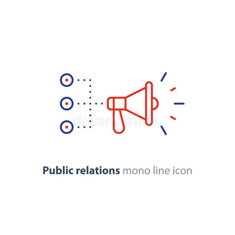 Public relations concept, megaphone line icon, advertising promotion strategy. Promotion plan, social media marketing concept, megaphone mono line icon, public royalty free illustration