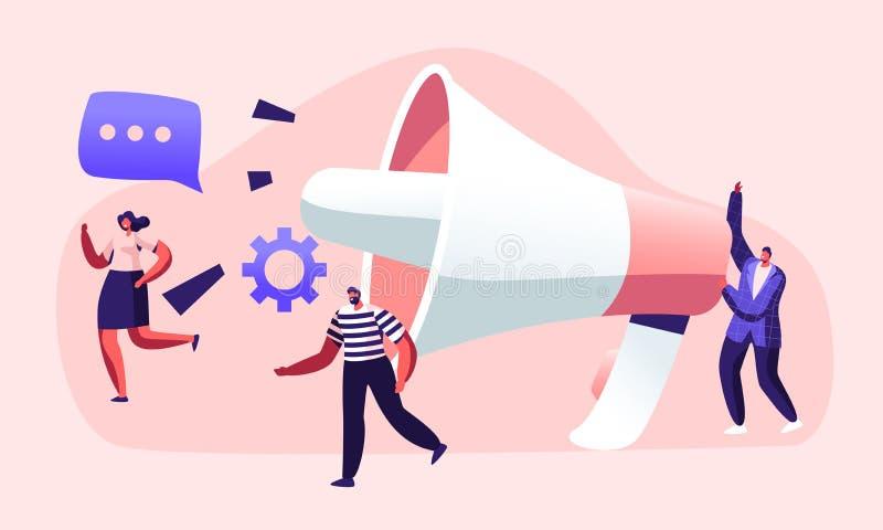 Public relations en Zaken, Mededeling die, PR-Agentschap Team Work die met Reusachtige Megafoon, Alarm op de markt brengen, Propa vector illustratie