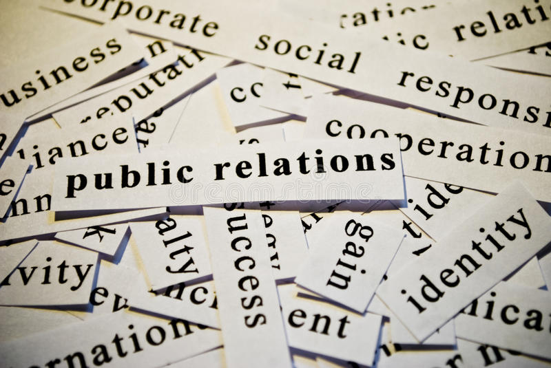 Public relations, PR. Words related with business stock photography