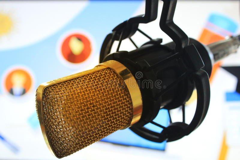 Public relations PR microphone for news global map world press people talking stock image