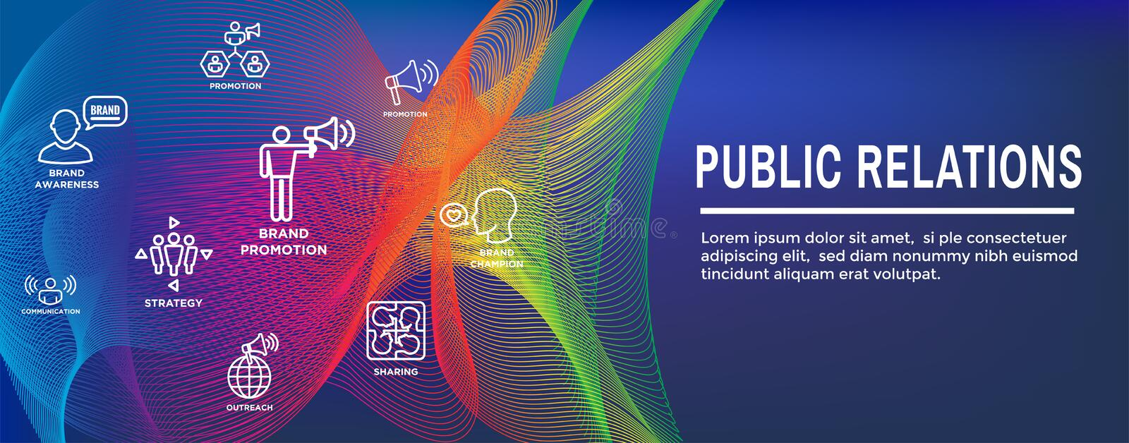 Public Relations Web Header Banner and Icon Set with brand awareness, strategy, and promotion. Public Relations Web Header Banner & Icon Set with brand awareness vector illustration