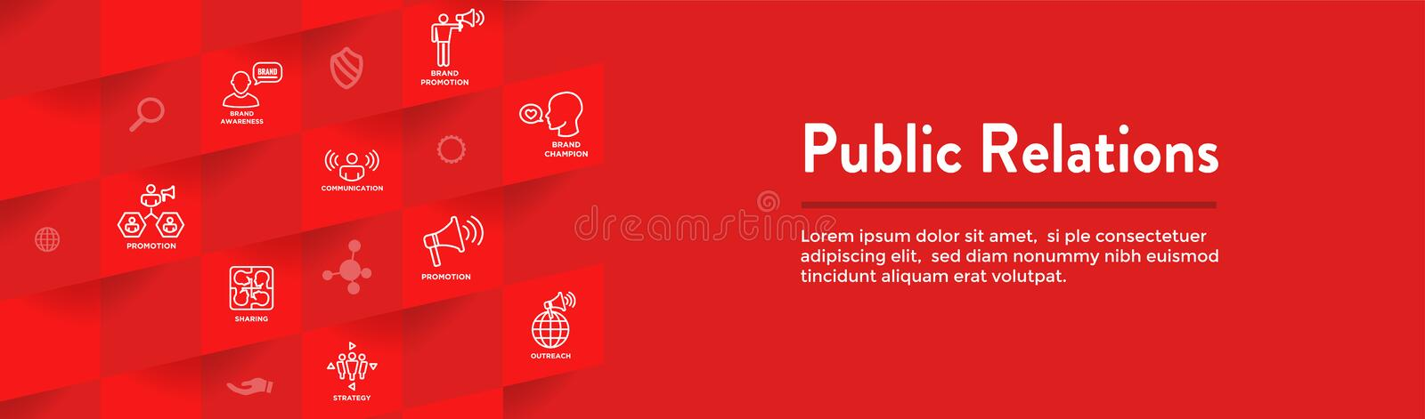 Public Relations Web Header Banner and Icon Set with brand awareness, strategy, and promotion. Public Relations Web Header Banner & Icon Set with brand awareness stock illustration