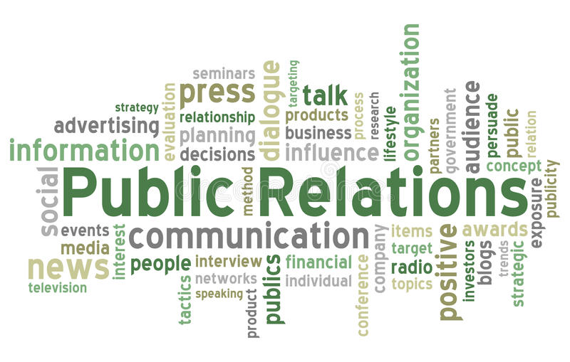 Public Relations Word Cloud. Concept illustration, isolated on white background. Eps file available
