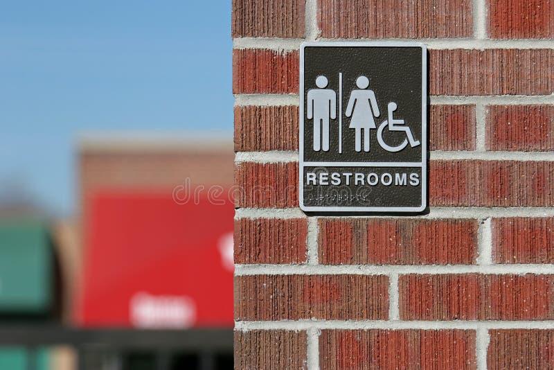 Public restrooms sign stock photos