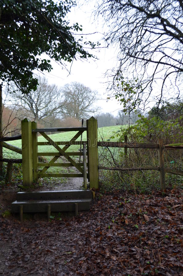 Public right of way gate in the Sussex countryside. stock image