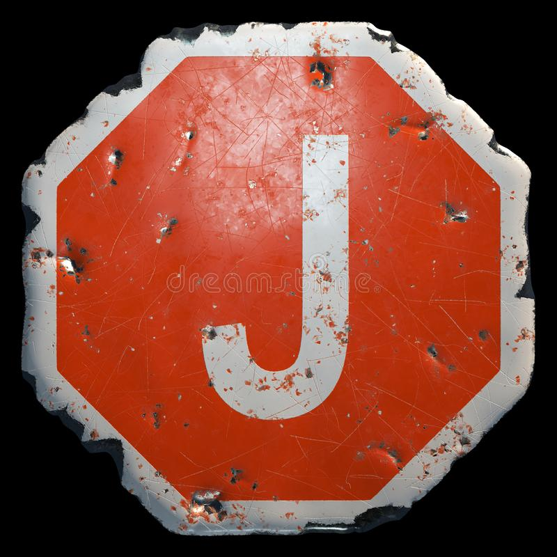 Public road sign in red and white with a capitol letter J in the center isolated on black background. 3d vector illustration
