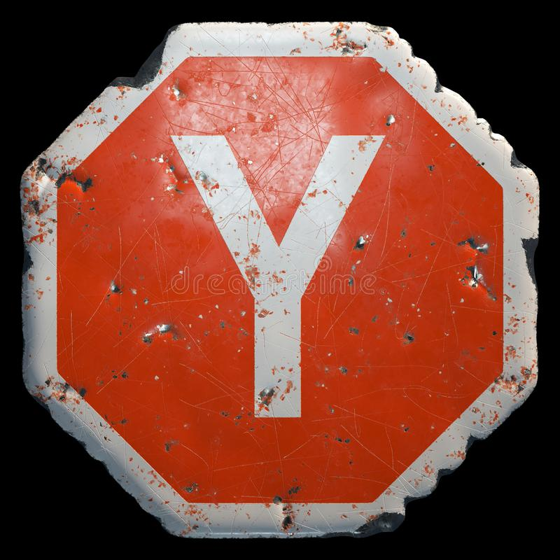 Public road sign in red and white with a capitol letter Y in the center isolated on black background. 3d vector illustration