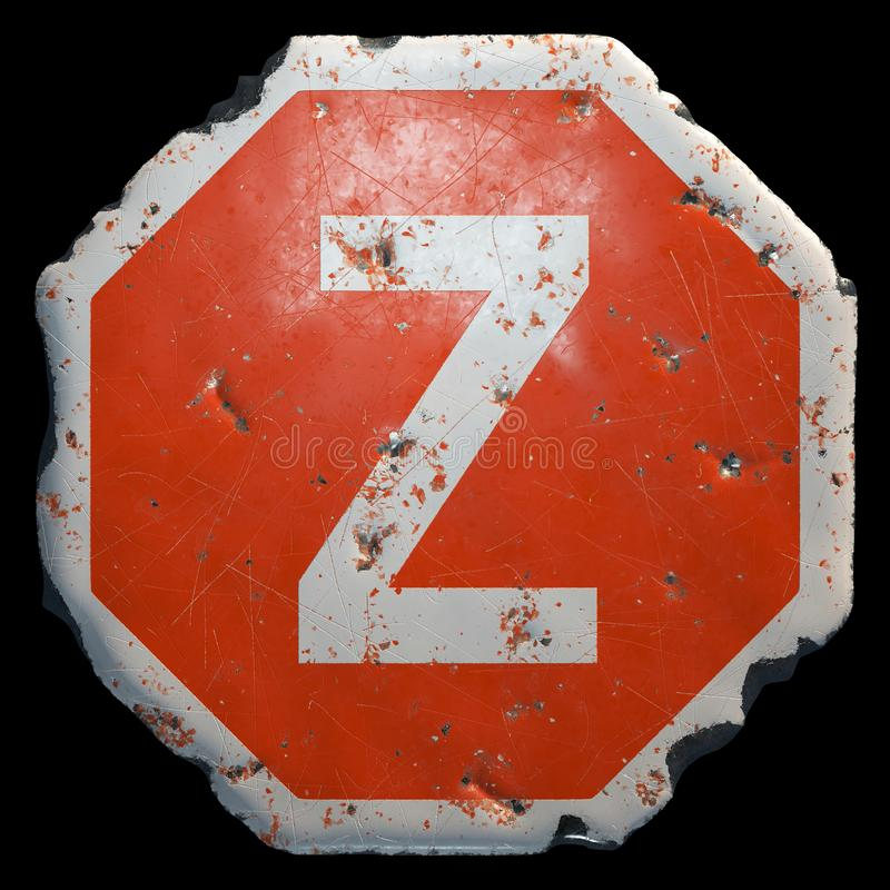 Public road sign in red and white with a capitol letter Z in the center isolated on black background. 3d royalty free illustration