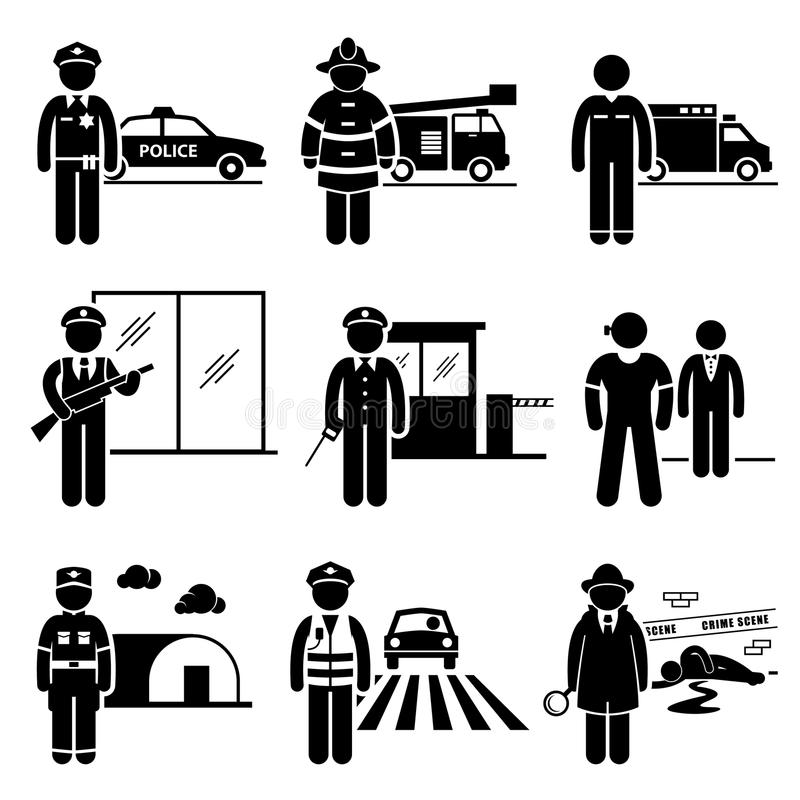 Public Safety and Security Jobs Occupations Career. A set of pictograms representing the jobs and careers in public safety and security. They are policeman vector illustration