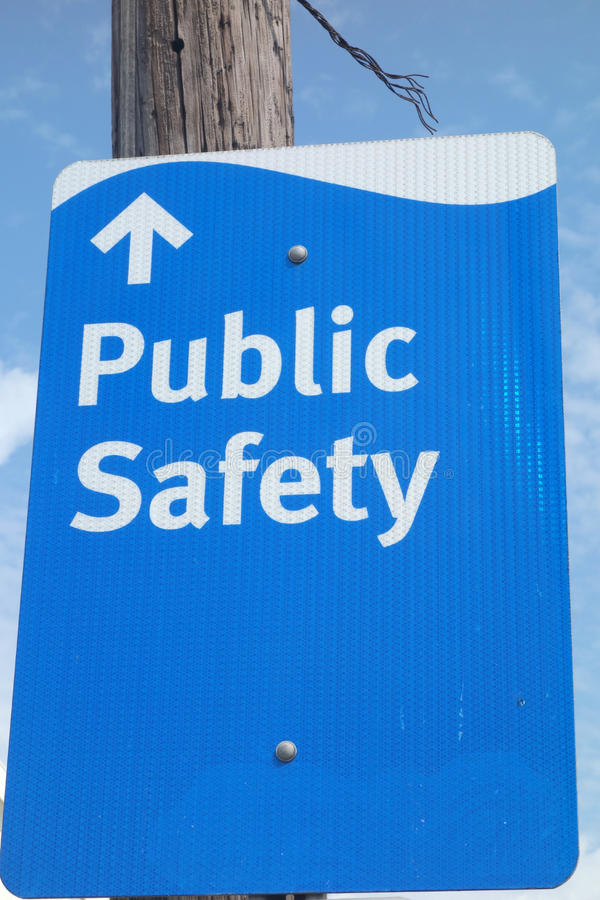 Public Safety. A sign indicating the way to public safety, in Atlantic City, New Jersey royalty free stock photography