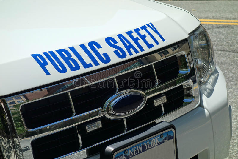 Public Safety. A white Public Safety vehicle, with New York plates stock photos