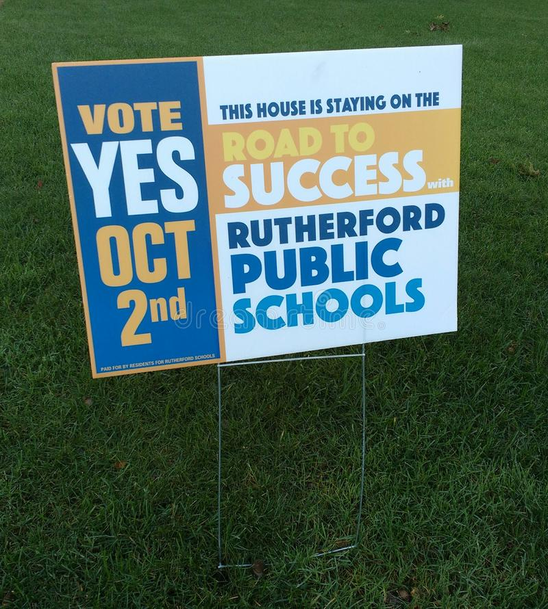 Public School Referendum, Vote Yes, Rutherford, NJ, USA. On October 2nd 2018 Rutherford residents will vote in a referendum regarding school funding. This lawn stock photography