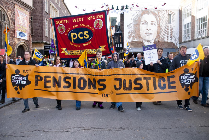 Public Sector Workers March Through Exeter Editorial Stock Image
