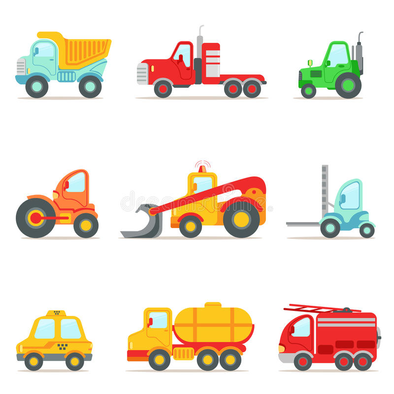 Public Service, Construction And Road Working Cars Collection Of Colorful Toy Cartoon Icons. Vector Illustrations In Bright Color With Vehicles Used For stock illustration