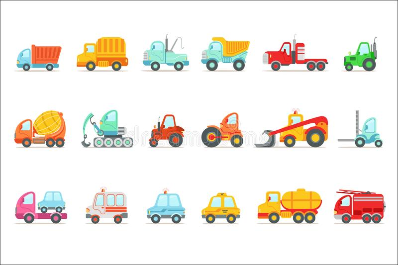 Public Service, Construction And Road Working Cars Set Of Colorful Toy Cartoon Icons. Vector Illustrations In Bright Color With Vehicles Used For Building Work royalty free illustration