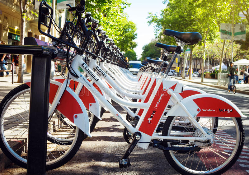 Public Service Vehicles bicycles. Vodafone Bicing in Barcelona. BARCELONA, SPAIN - 23.04.2016 - Public Service Vehicles bicycles Vodafone Bicing in Barcelona royalty free stock photos