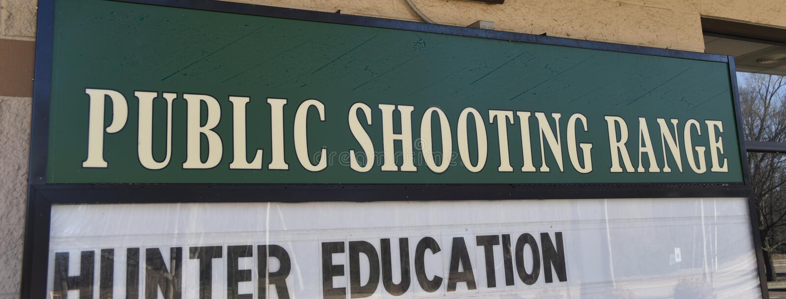 Public Shooting Range. A public shooting range is an indoor or outdoor location where people with weapons and firearm licenses or those applying for licenses can royalty free stock image