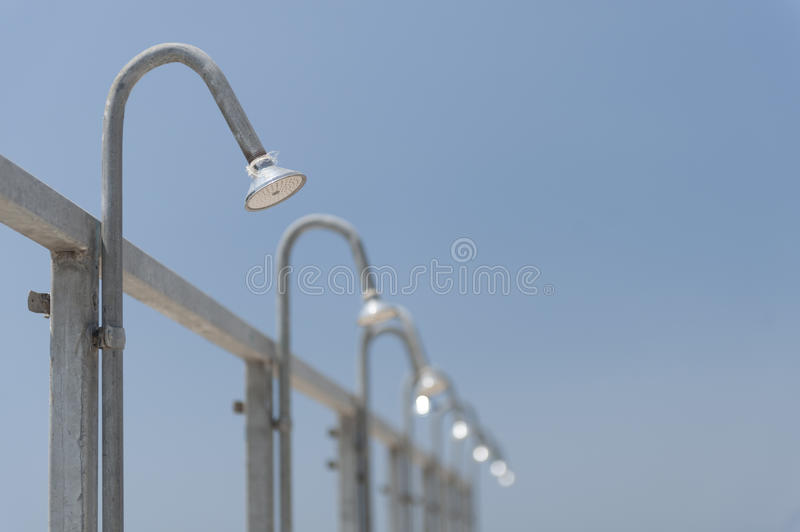 Download Public shower heads stock image. Image of outside, modern - 19480649