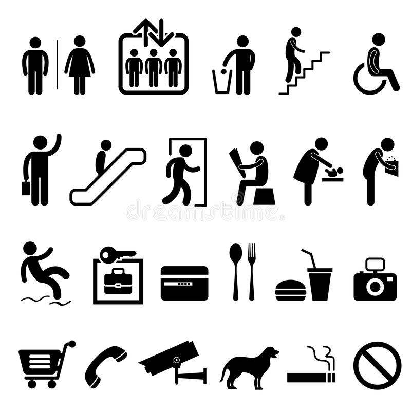 Public Sign Shopping Center Building Icon Symbol. A set of shopping center and commercial building icon and symbols