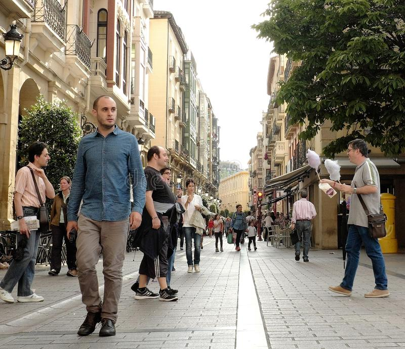 Public spaces in Logrono, Spain during the summer. This public space is pedestrian only and shows the urban elements of Logrono, Spain. People are walking, cafes stock image