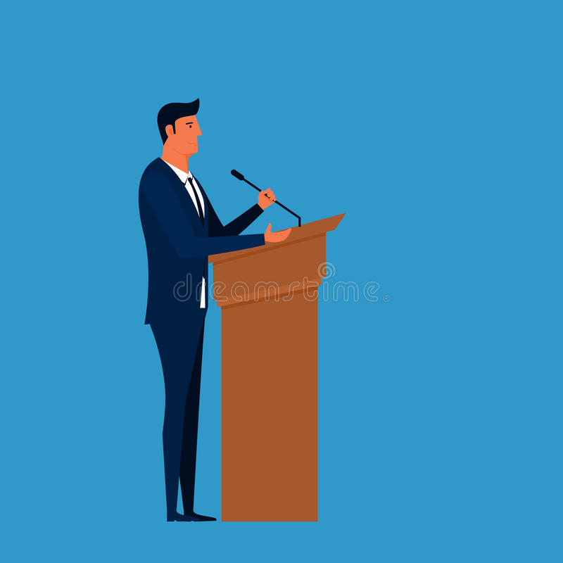 Public Speaker. Businessman speaking on podium giving public speech. vector illustration
