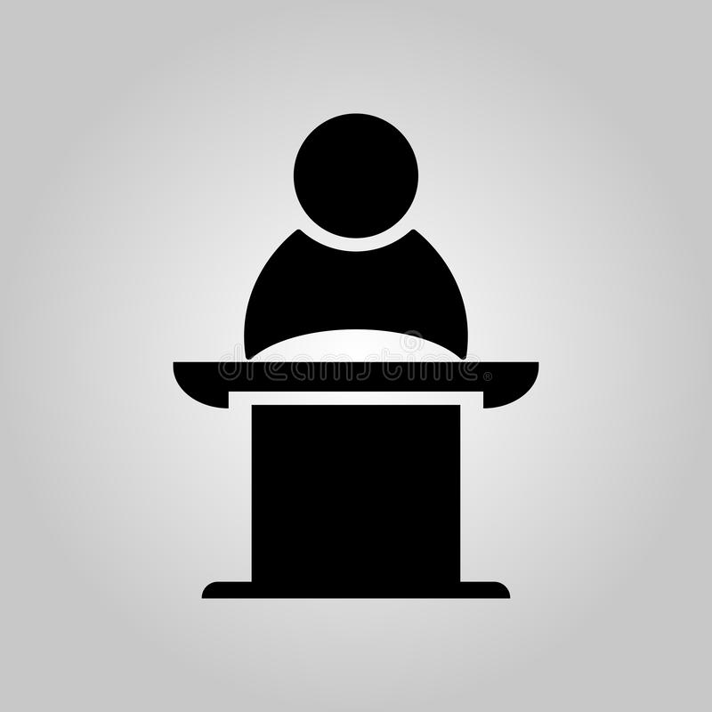 Public Speaker on the pedestal. Business meeting, discussion or debate. Vector illustration stock illustration