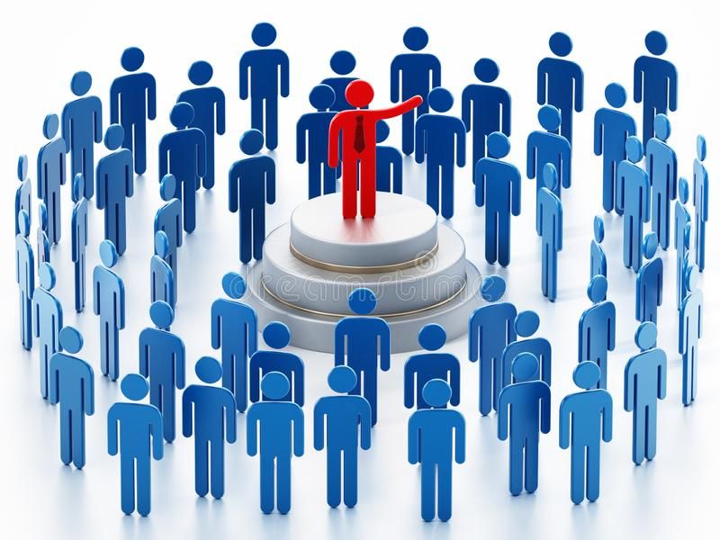Public speaker red figure surrounded with blue figures giving a speech.  vector illustration
