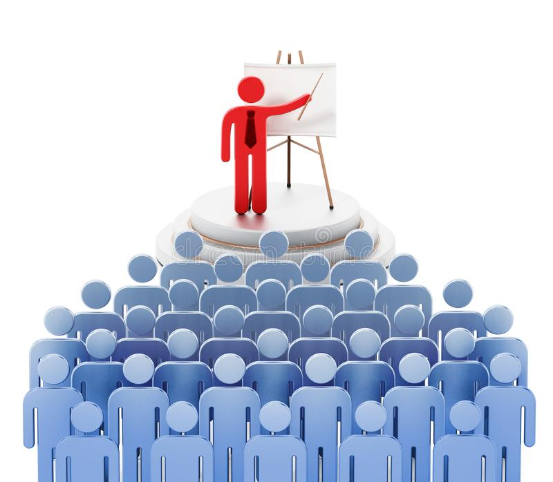 Public speaker red figure surrounded with blue figures giving a speech.  royalty free illustration