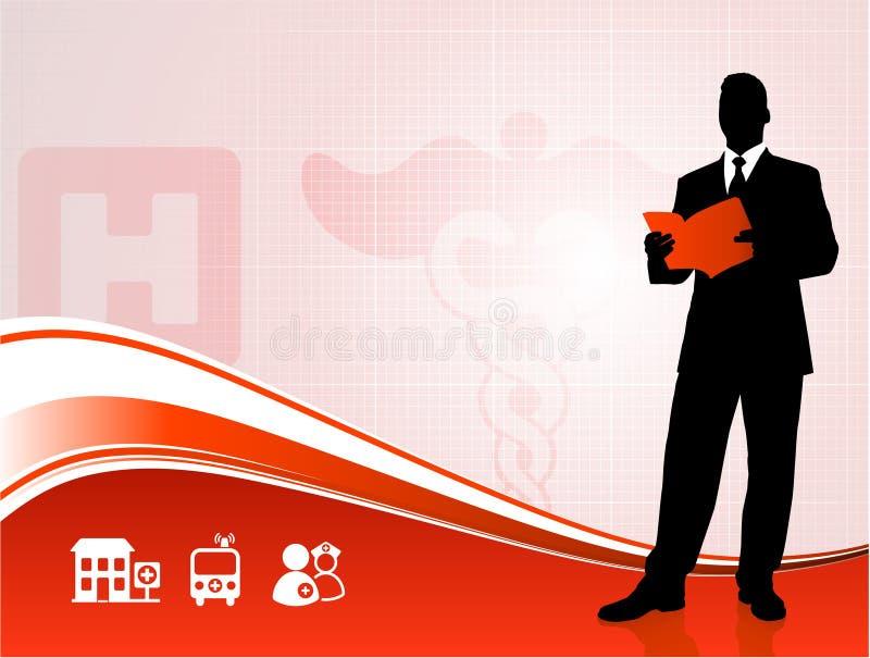 Public speaker silhouette on medical report stock illustration
