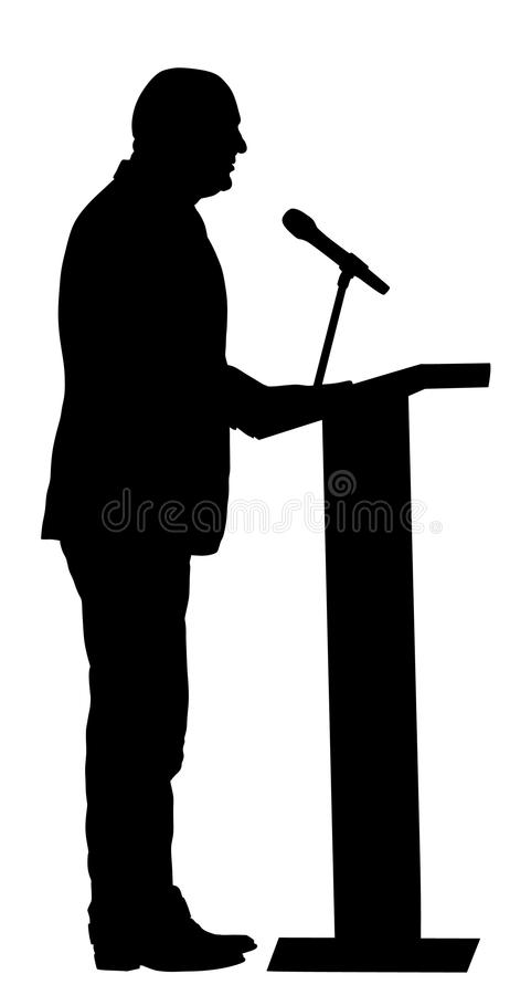 Public speaker standing on podium silhouette. Businessman speaking with public. Talking on microphone. Public speaker standing on podium silhouette illustration stock illustration