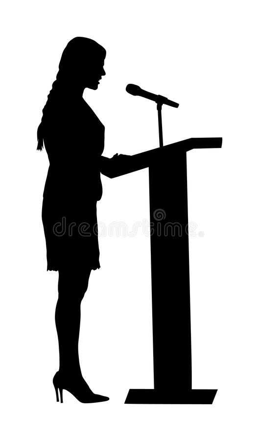 Public speaker standing on podium vector silhouette illustration isolated on white. Politician woman opening meeting. Ceremony event. Business woman speaking royalty free illustration