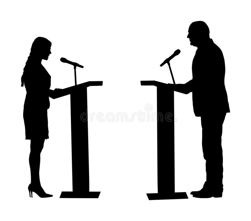 Public speaker standing on podium vector silhouette. Politician woman opening meeting ceremony event. Businessman speaking. stock illustration