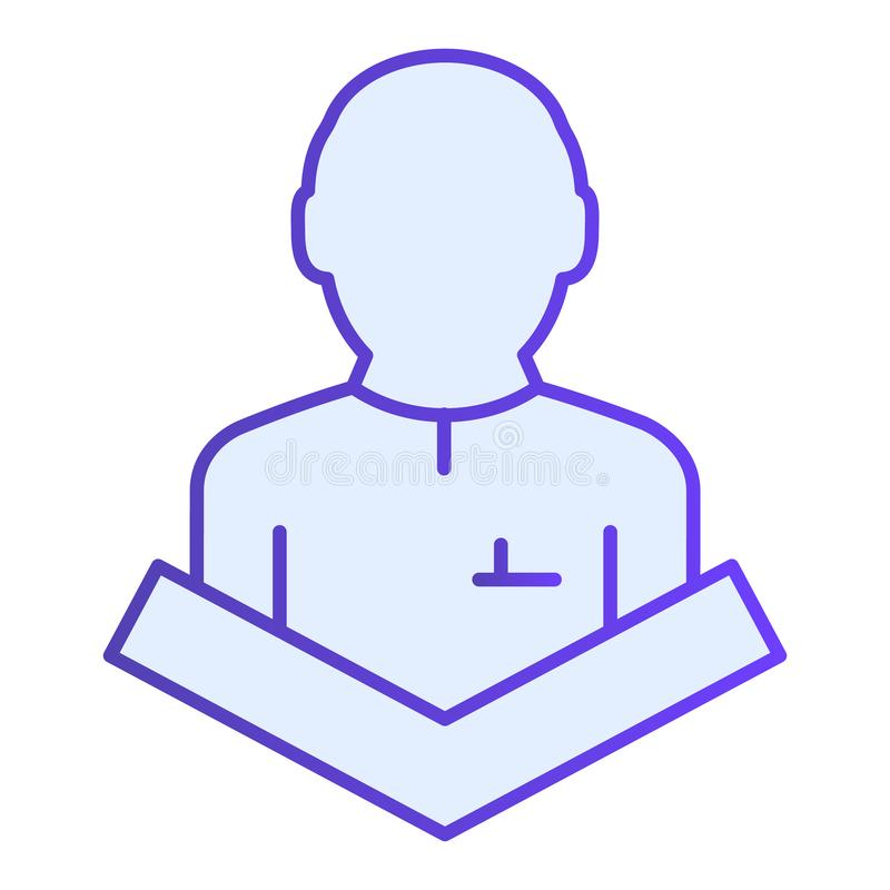 Public speaking flat icon. Lecturer on tribune blue icons in trendy flat style. Speech gradient style design, designed. For web and app. Eps 10 vector illustration